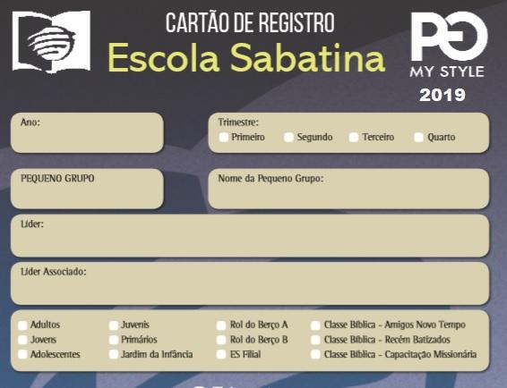 Cartao Registro Da Chamada Da Escola Sabatina 2019 Https
